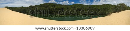 Australia fraser island lake Wabby - stock photo