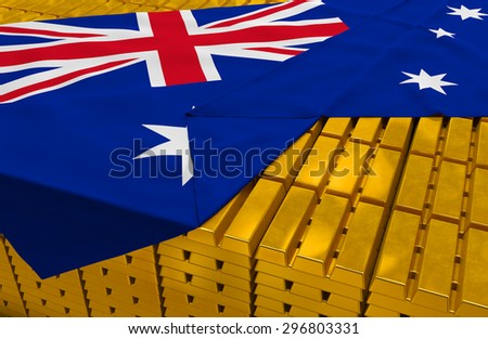 Australia gold reserve stock: golden bars are covered with australian flag in the storage (treasury) as symbol of national gold and foreign currency reserves, financial health, economic growth - stock photo