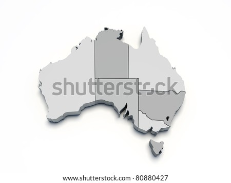 Australia gray 3D map on white isolated - stock photo