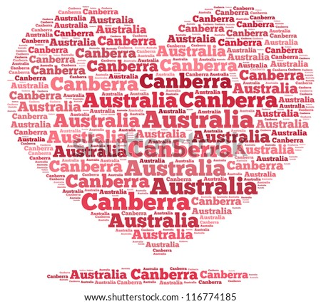 Australia info-text graphics and arrangement concept on white background (word cloud)