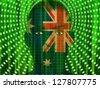 Australia MAn with Streaming Binary - stock vector