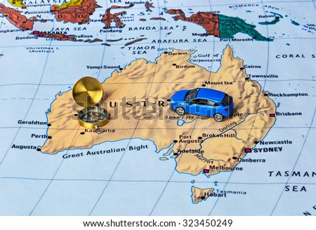Australia map and compass - travel background - stock photo