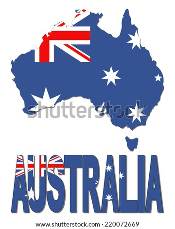 Australia map flag and text illustration - stock photo