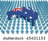 Australia map flag surrounded by many abstract people illustration - stock photo