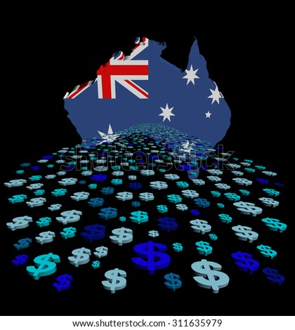 Australia map flag with abstract dollars illustration - stock photo