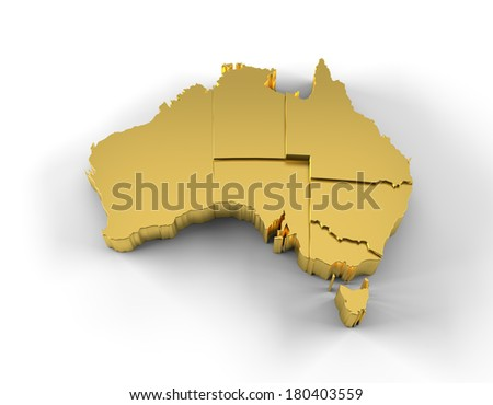 Australia map in gold with states stepwise arranged and including a clipping path. High quality 3D illustration.  - stock photo