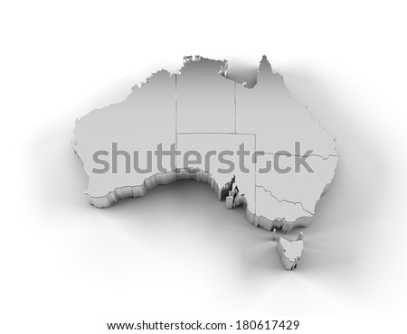Australia map in silver with states and including a clipping path. High quality 3D illustration.  - stock photo