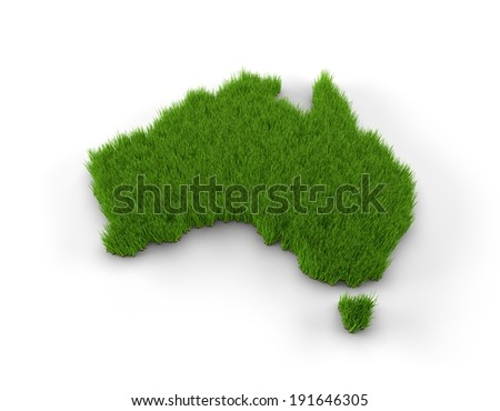 Australia map made of grass. High quality 3D illustration.  - stock photo