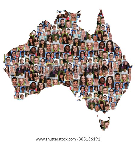 Australia map multicultural group of young people integration diversity isolated - stock photo