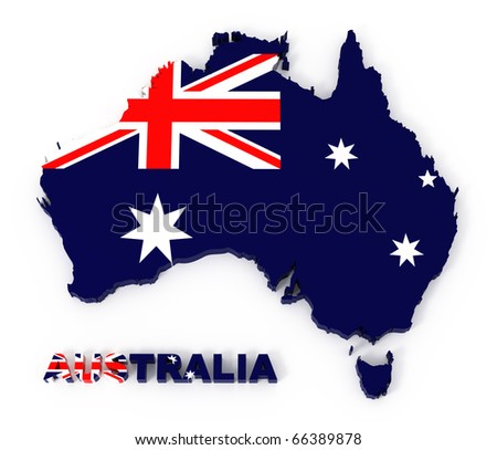 Australia, map with flag, isolated in white with clipping path, 3d illustration