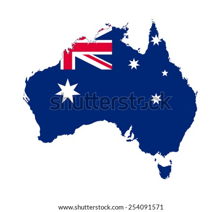 Australia map with official flag - stock photo