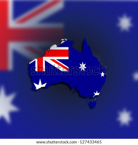 Australia map with the flag inside, isolated - stock photo