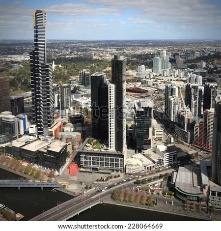 Australia - Melbourne and Yarra River. Square composition. - stock photo