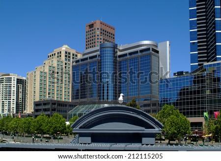 Australia, modern architecture in Melbourne, the capital city of Victoria - stock photo
