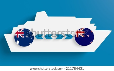 australia new zealand ferry boat route info in icons - stock photo
