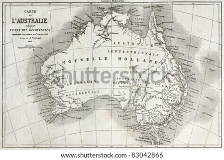 Australia old map. Created by Vuillemin and Erhard, published on Le Tour du Monde, Paris, 1860 - stock photo