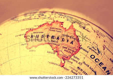 Australia  on atlas world map - stock photo