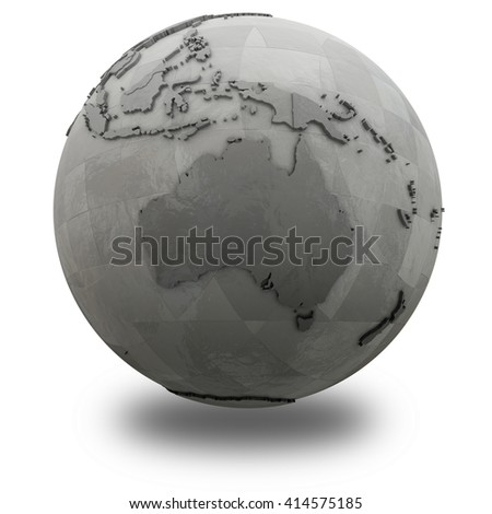 Australia on 3D model of metallic planet Earth made of steel plates with embossed countries. 3D illustration isolated on white background with shadow.
