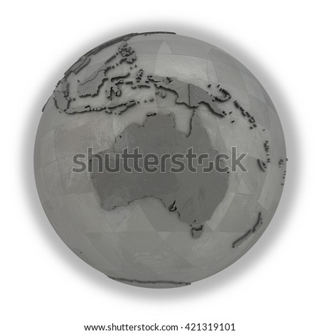 Australia on 3D model of metallic planet Earth made of steel plates with embossed countries. 3D illustration isolated on white background.