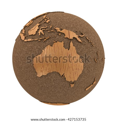 Australia on 3D model of wooden planet Earth with oceans made of cork and wooden continents with embossed countries. 3D illustration isolated on white background. - stock photo