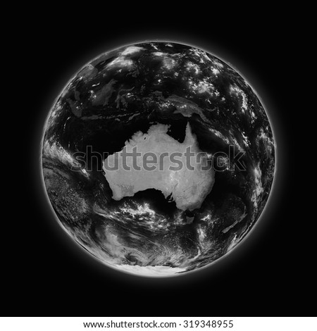 Australia on dark planet Earth isolated on black background. Highly detailed planet surface. Elements of this image furnished by NASA.
