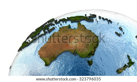 Australia on highly detailed planet Earth with embossed continents and country borders. Elements of this image furnished by NASA. - stock photo