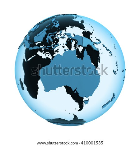 Australia on translucent model of planet Earth with visible continents blue shaded countries. 3D illustration isolated on white background.