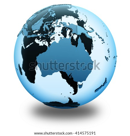 Australia on translucent model of planet Earth with visible continents blue shaded countries. 3D illustration isolated on white background with shadow.