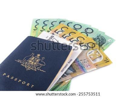 australia passport with boarding pass ready to travel with some australia dollars - stock photo