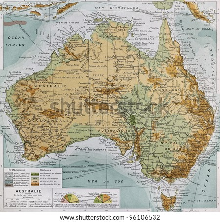 Australia physical map. By Paul Vidal de Lablache, Atlas Classique, Librerie Colin, Paris, 1894 (first edition) - stock photo