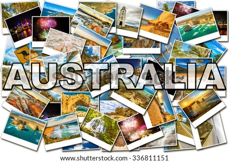 Australia pictures collage of several famous locations in the states of New South Wales, Victoria and Tasmania in Australia. - stock photo
