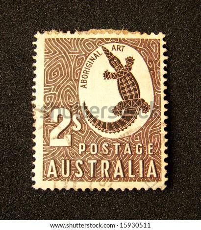 Australia postage stamp on black background. - stock photo