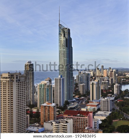 AUstralia Queensland gold coast surfers paradise cityscape aerial view on landmark city with Q1 tower of skyscraper against ocean - stock photo