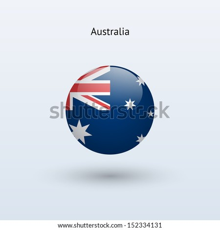Australia round flag on gray background. See also vector version. - stock photo