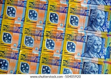 Australia's colourful plastic fifty dollar notes - stock photo