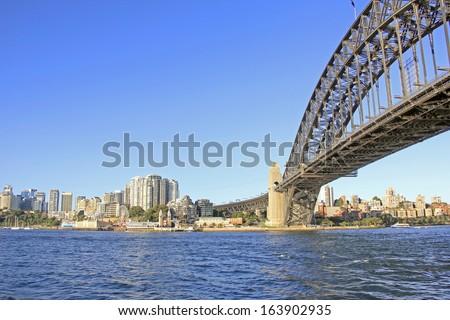 Australia's iconic landmark the Harbour bridge in Sydney. - stock photo