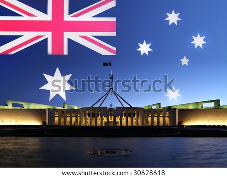 Australia's Parliament House in Canberra by night - stock photo