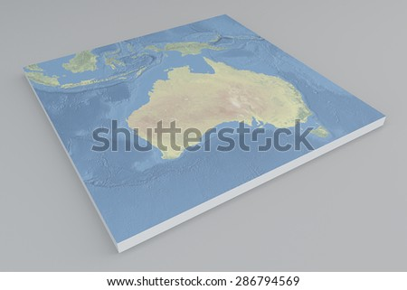 Australia, satellite view, split, 3d, map. Element of this image are furnished by Nasa