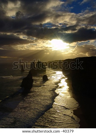 Australia seahore 12 apostels during sunset - stock photo