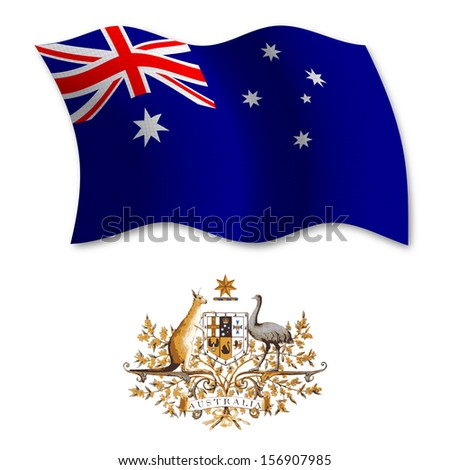 australia shadowed textured wavy flag and coat of arms against white background, art illustration - stock photo