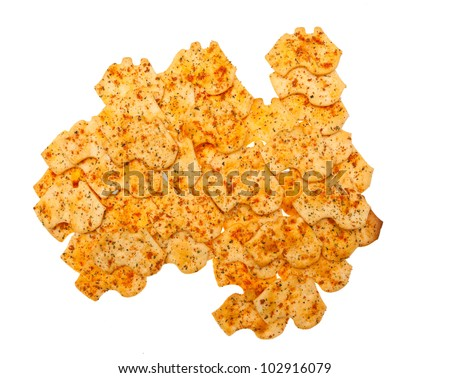 Australia shaped biscuits arranged into the shape of Australia. - stock photo