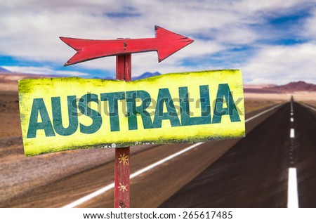 Australia sign with road background - stock photo
