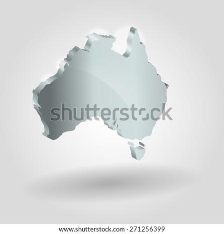 Australia silver map. Image of modern Australia map illustration. bitmap copy - stock photo