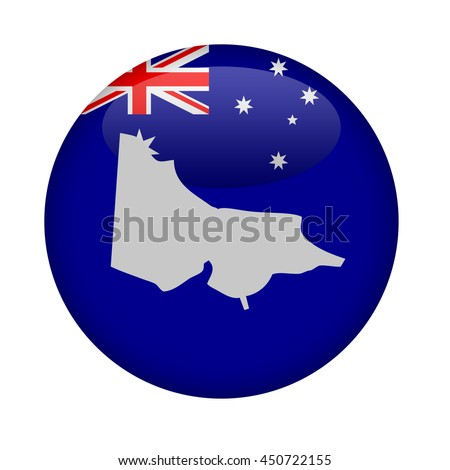 Australia state of Victoria map button on a white background. - stock photo