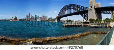 Australia Sydney Circular quay City skyscrapers skyline panorama view summer sunny day - stock photo