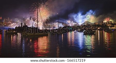 AUstralia Sydney city CBD, harbour and bridge at night during international fleet review (navy) firework  - stock photo