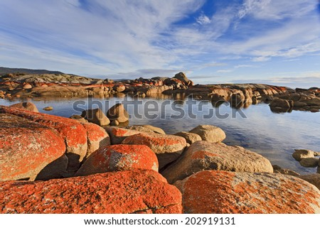 australia Tasmania bay of fires binalong bay red boulders at morning sunlight in national park as tourism landmark - stock photo