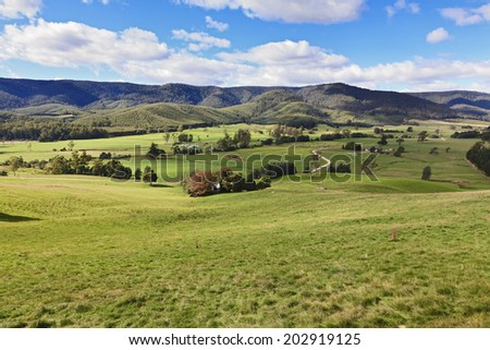 Australia tasmania green mountain valley in the hills well cultivated and developed agricultural land for cattle growing, grazing in rural farm real estate property - stock photo