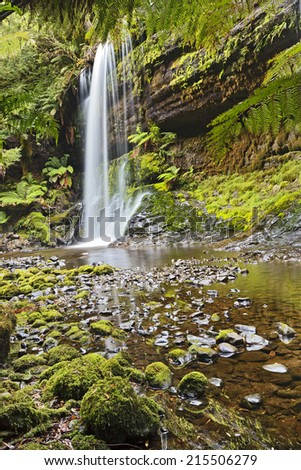australia Tasmania Mt Field national park waterfall cascade vertical stream of pure cold fresh water with reflection in pool with boulders and moss - stock photo