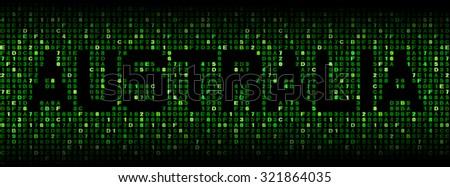 Australia text on hex code illustration - stock photo